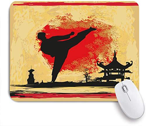 Dekoratives Gaming-Mauspad,BJJ Taekwondo Karate Sport Erholung Starker Kampfgürtel Judo Fight Design,Bürocomputer-Mausmatte mit rutschfester Gummibasis