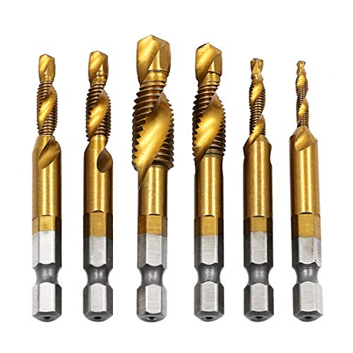 THNQ Schroef spiraal Point Thread Kit Metric M3 M4 M5 M6 M8 M10 metaalbewerking Hex Shank Machine Kranen Plug Hand Tap Boren (Thread Diameter : M6)