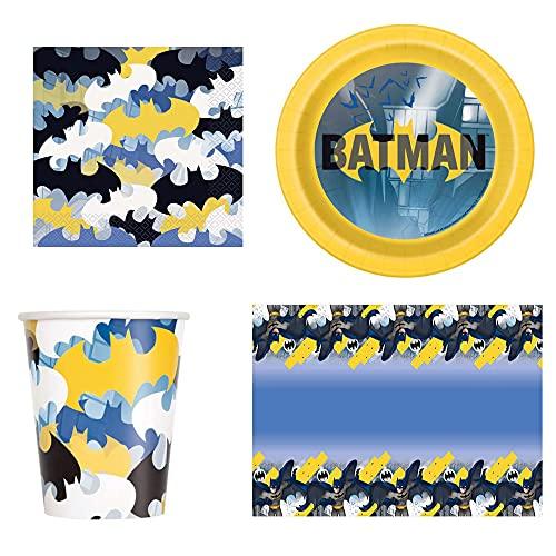 Juego de vajilla Batman para 16 personas – Servilleta – Vasos – Platos – Mantel