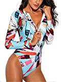 Monokini Costumi da Bagno Push Up Bikini Costume Intero Donna Manica Lunga Surf con Zip e Coppe Coordinati Sportivi Abbigliamento Body Floreale Tuta da Ginnastica Artistica Yoga Beach Wear Swimsuit