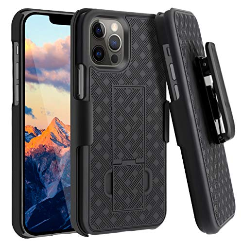 Fingic Compatible with iPhone 12 Pro Max 5G Case Holster Case Combo Shell Slim Rugged Case with Built-in Kickstand Swivel Belt Clip Holster Shockproof Cover for Apple iPhone 12 Pro Max 6.7 inch, Black