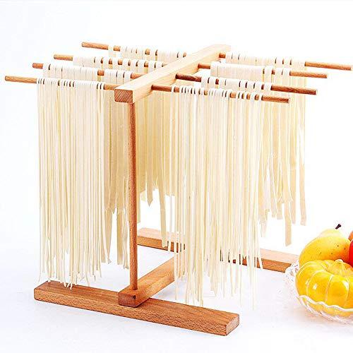 RoserRose Stendino per Pasta 8 File Pieghevole in Legno di Faggio Essiccatori Fatti A Mano per Spaghetti Freschi Rack da Cucina Multifunzionale Luce Facile da Installare e Memorizzare
