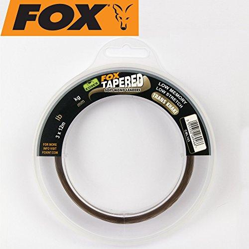 FOX Edges Soft Tapered Leaders Trans Khaki 3 x 12m - Schlagschnur zum Karpfenangeln, Karpfenschnur, Schnur zum Angeln auf Karpfen, Durchmesser/Tragkraft:0.37mm-0.57mm / 16lbs-35lbs Tragkraft