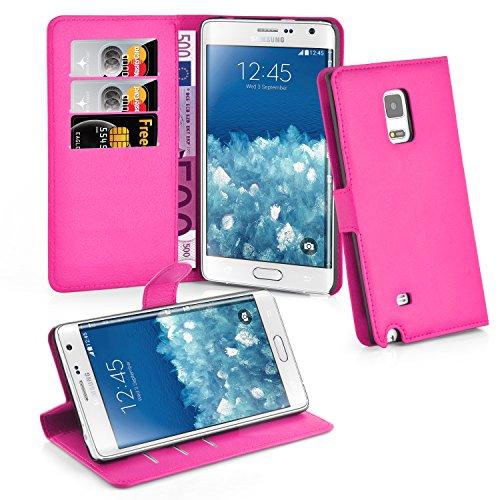 Cadorabo Hülle für Samsung Galaxy Note Edge in Cherry PINK - Handyhülle mit Magnetverschluss, Standfunktion & Kartenfach - Hülle Cover Schutzhülle Etui Tasche Book Klapp Style