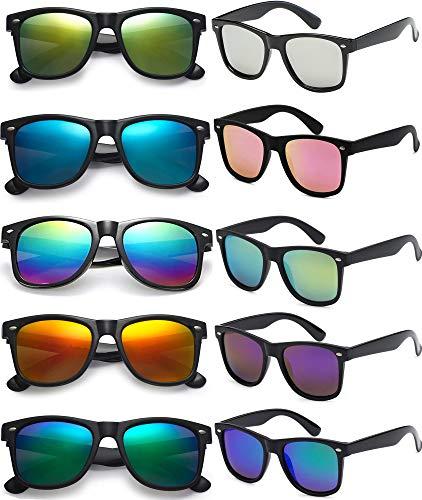FSMILING 10 pezzi occhiali da sole specchiati per feste,Set occhiali da sole Adultretrò anni '80 Per uomini e donne,divertente occhiali party con protezione Uv