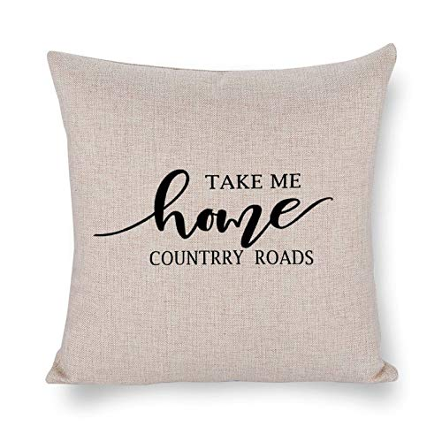 Blafitance Take Me Home Country Roads - Funda de almohada decorativa de lino con cita inspiradora, decoración rústica para el hogar, 66 x 66 cm