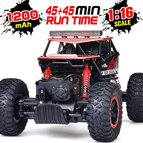 RC Car, NQD Remote Control Monster Truck, 2.4Ghz 4WD Off Road Rock Crawler Vehicle, 1:16 All Terrain Rechargeable Electric Toy for Boys & Girls Gifts (Red)