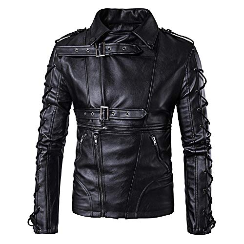 ZXYU Leder Bikerjacke für Mann, Mode Herren Motorrad Lederjacke Antiqued Vintage Black Classic Motorrad Mantel Kleidung-Schwarz_XL