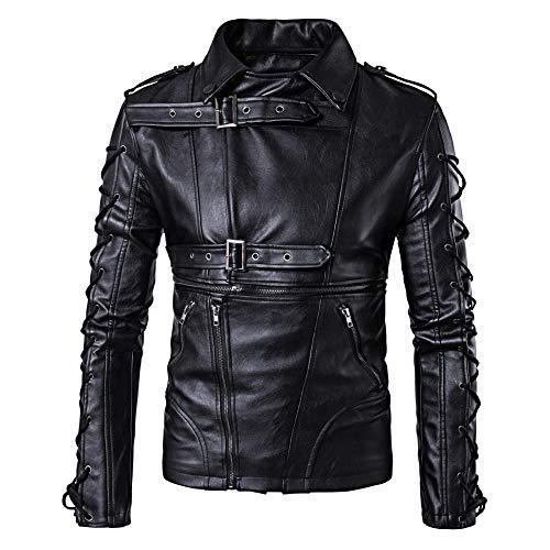 ZXYU Leder Bikerjacke für Mann, Mode Herren Motorrad Lederjacke Antiqued Vintage Black Classic Motorrad Mantel Kleidung-Schwarz_M.