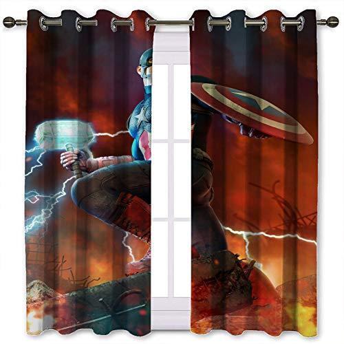 SSKJTC Cortinas opacas para ventana de cocina, superhéroe de Thor Hammer Warfire Artwork Cortinas opacas para habitación de los niños (106 x 137 cm)