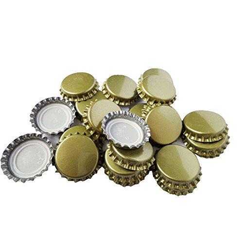 TRIXES 100 Pizas de Metal Dorado Tapas de Botella de 25mm de Cerveza Casera Corona