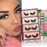 Mink Lashes, 4 Pairs 3D Mink Eyelashes Pack 2 Styles 20mm Natural Look Lashes from WENNALIFE for Women Reusable Luxury False Eyelashes, LuLu