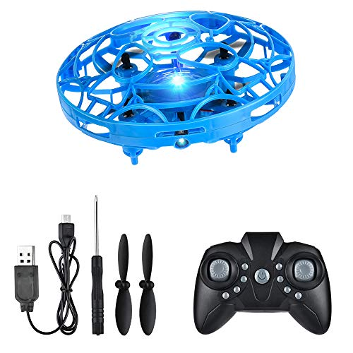 MiniHand Operated Drone, AFDEAL Pocket Hover Toy Interactive Aircraft Upgraded Gesture and Remote Control Flying Drone 360° Rotating LED Lights Stress Reliever for Boys and Girls Kids Adults(Blue)