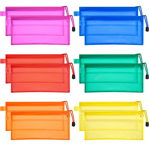 Bememo 12 Pieces 6 Colors Pencil Pouch Zipper File Bags Waterproof Plastic Double Layer for Pen Bag Cosmetics Supplies Travel Accessories