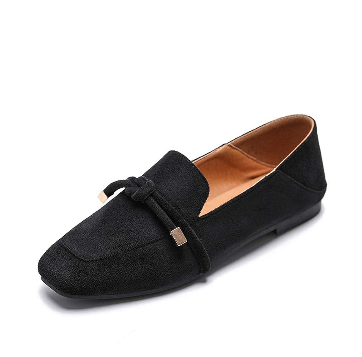 上院議員洗剤カストディアンローファー パンプス スエード ローヒール リボン 25cm ママ ペタンコ 靴 レディース靴 ぺたんこパンプス 1cm スクエアトゥ フラットシューズ ブラック スウェード 黒 春 ブラック ブラウン 茶色 大きいサイズ 通勤