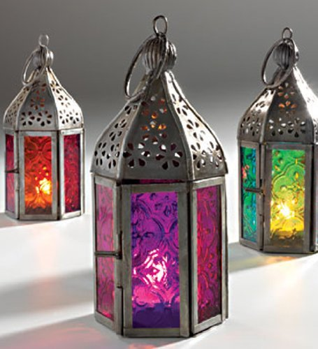 Moroccan and Indian Mini Frosted Glass Lantern Purple