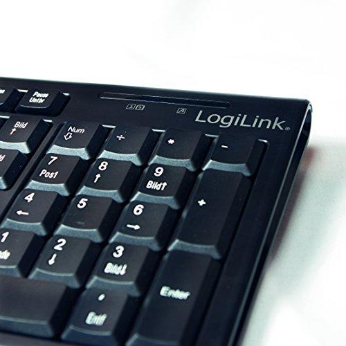 LogiLink ID0104 - kabelloses Tastatur/Maus Set, 2,4GHz, Tastatur 103 Tasten (+13 Hotkeys) - Maus (optischer Sensor) mit 3 Bedientasten, AUTOLINK Verbindung, schwarz