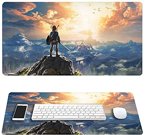 Legend of Zelda Breath of The Wild Link Mouse Pads Large Gaming Mouse Pad Mat, Non-Slip Waterproof Rectangle with Stitched Edges for Office Home 29.5' x 15.7' x 0.12'