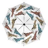 小さな旅行傘防風屋外雨日UVオートコンパクト3つ折り傘カバー-こいのぼり(鯉のぼり)魚凧