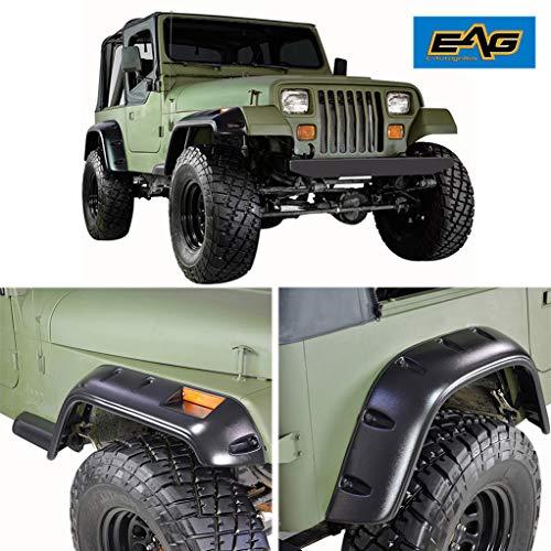 EAG Front and Rear Fender Flare Wheel Cover Trim Pocket Rivet Style Fit for 87-95 Wrangler YJ