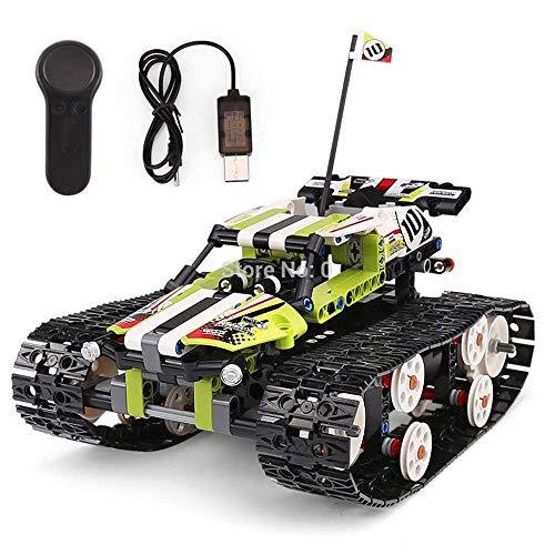 ZHWDD El Coche teledirigido, RC Racer cargadora de orugas Bloques de construcción del Kit del Sistema, Juguetes educativos for niños Boy Gift Ideas hefeide (Color : Green)