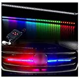 Xotic Tech Knight Rider Light LED Strip Light for Hood Grille, 21' Scanning 7-Color Running RGB LED Lighting Bar Strip Third Brake Light 48-SMD 5050, 130 Modes with High Power Remote Control