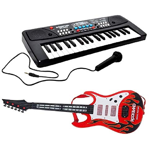 mQFIT Combo of 37 Key Piano Keyboard Toy with DC Power Option; Recording and Mic with Musical Guitar with Light and Sound for Kids
