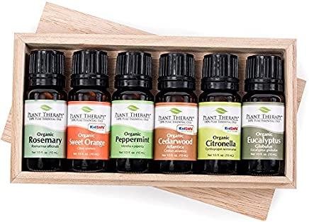 Plant Therapy Organic Essential Oil Sampler Gift Set, 6 USDA Organic Oils, 100% Pure,Undiluted, Therapeutic Grade (10 mL each)
