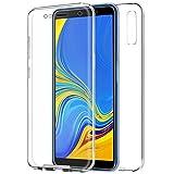 TBOC Funda para Samsung Galaxy A7 (2018) A750F - Carcasa [Transparente] Completa [Silicona TPU] Doble Cara [360 Grados] Protección Integral Total Delantera Trasera Lateral Móvil Resistente Golpes