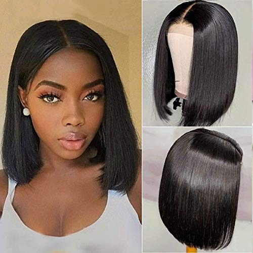 BLY Short Straight Bob Wigs for Black Women Human Hair 10 Inch 4x4 Lace Closure Front Wigs 150% Density Brazilian Virgin Hair Pre Plucked with Baby Hair Natural Color