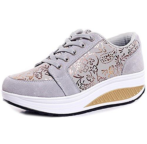 Solshine Walkmaxx - Zapatillas deportivas con cordones y tacón de cuña para mujeres, color Gris, talla 39 EU