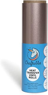 Craftables Rose Gold Heat Transfer Vinyl Roll HTV 11 ft. - Easy to Weed Tshirt Iron on Vinyl for Silhouette Cameo, Cricut, Heat Press, All Craft Cutters. Ships Flat, Guaranteed Size