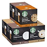 Starbucks Nescafe Dolce Gusto Variety Pack White Cup Coffee Pods, 72 Capsules (6 x 12, 36 Portions)