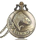 Vintage Montre de Poche Pêche la pêche Motif Montre de Poche Cadeau pour Homme et...