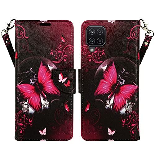 ZASE Schutzhülle für Samsung Galaxy A12 (2021) (Hot Pink Butterfly)