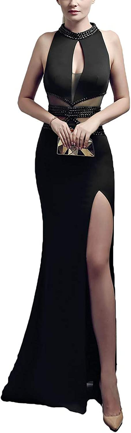 Chowsir Women Sexy Elegant Slim Evening Cocktail Party Prom Long Fishtail Dress