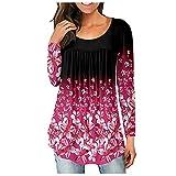 Blusa de túnica plisada con cuello en V para mujer, blusa Henley, camisas sueltas con volantes y botones para arriba, C-rosa rojo, M