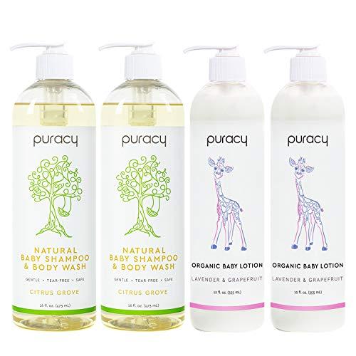 Puracy Organic Baby Care Gift Set, Nontoxic Moisturizing Lotion, Natural Baby Shampoo (4-Pack)