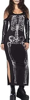 Halloween Women's Skeleton Slit Cold Shoulder Maxi Dress