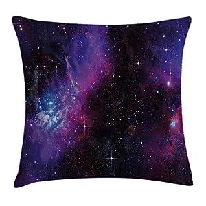 ABAKUHAUS Espacial Funda para Almohadar, Nebulosa Galaxia Oscura con Estrellas Luminosas y Rayos Cósmicos Tema Astronomía, Material Lavable con Cremallera Colores No Destiñen, 45 x 45 cm, Magenta