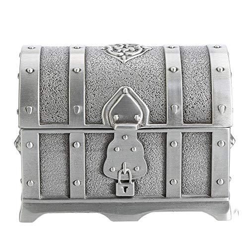 Caja de joyería Vintage Caja de Tesoro Europea clásica Caja de joyería de Metal con Cerradura Patrón de Talla Retro para Caja de Almacenamiento de Tesoros de Boda