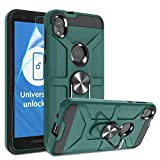 Atump Moto E6 Case with HD Screen Protector, 360° Rotation Ring Holder Kickstand [Work with Magnetic Car Mount] PC+ TPU Phone Case for Motorola Moto E6, Midnight Green