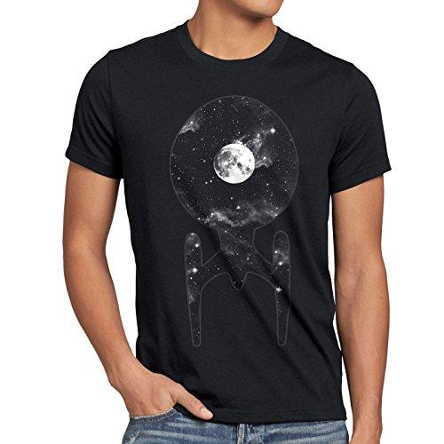 style3 Trek Raumschiff T-Shirt Herren Trekkie Star, Größe:XL, Farbe:Schwarz