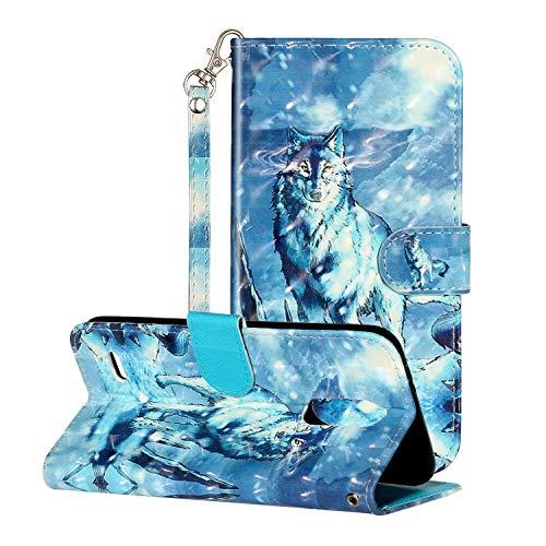 i-Hülle 3D Effect Glitzer Kompatibel mit LG K8 (2018) Handyhülle Phone Hülles PU Lederhülle Brieftasche BookStyle Etui Handytasche Kartenfach Buchstil Flip Tasche für LG K8 (2018),Schneewolf