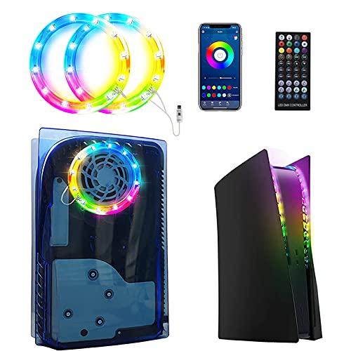 GZW-Shop LED Strip RGB Streifen Lichterkette für PS 5 Konsole, 7 Farben 29 Effekte DIY Dekoration Zubehör Kit für PS5 Konsole mit Infrarot-Fernbedienung