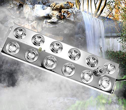 Kacsoo Ultraschall Nebel Hersteller Maschine 6 Kg/h Gleichstromtransformator 60-80mm Arbeitswasserstand Für Wasserbrunnen Teich Steingarten Fischtank Vogelbad Garten Rasenteich Verwendung(12 Kopf)