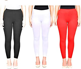 Ssretail Women's & Girl's Lycra cotton Ankle Length Free Size Leggings Pack of 3(black white red) Combo free size