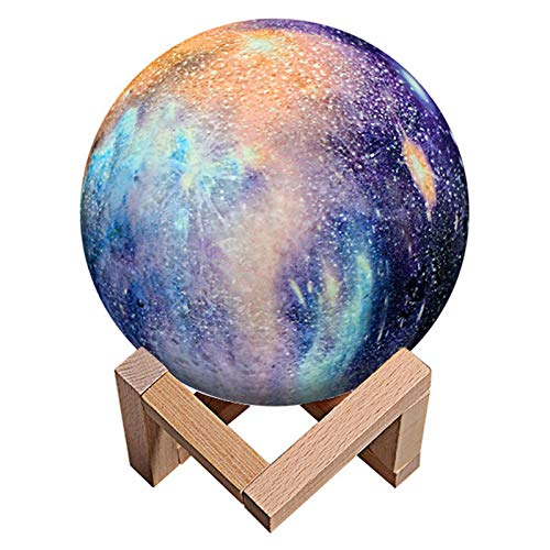 Moon Lamp Kids Night Light Galaxy Lamp 16 Colors LED 3D Star Moon Light with Wood Stand, Remote and Touch Control USB Rechargeable Gift for Baby Girls Boys Birthday
