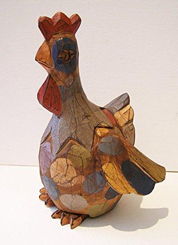 Poule en bois style Shabby Chic Motif Fair Trade 18 cm
