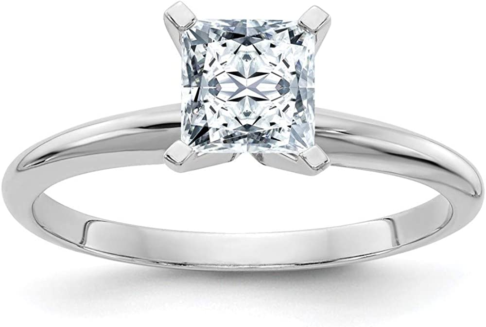 14k White Gold 2ct. D E F Pure Princess Moissanite Solitaire Band Ring Engagement Gsh Gshx Fine Jewelry For Women Gifts For Her